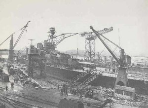 HMS Hood being built at the Clydebank yard in 1919. Titan crane is in the background (Source: Clydesite UK)