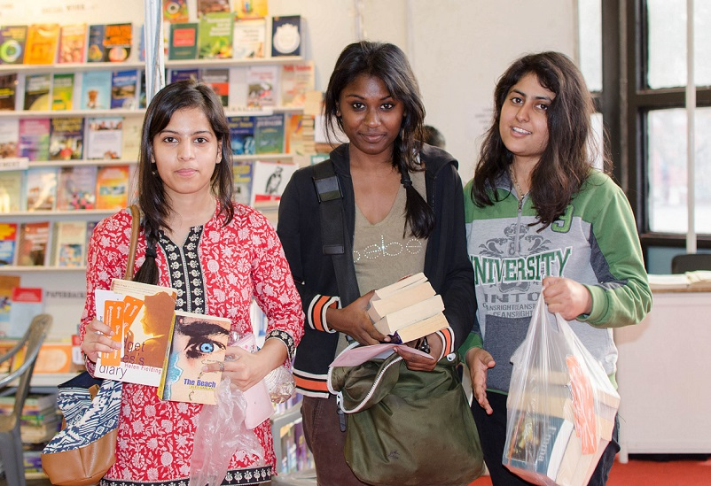 Students at Delhi Book Fair